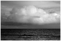 Cloud above the ocean, Tau Island. National Park of American Samoa (black and white)