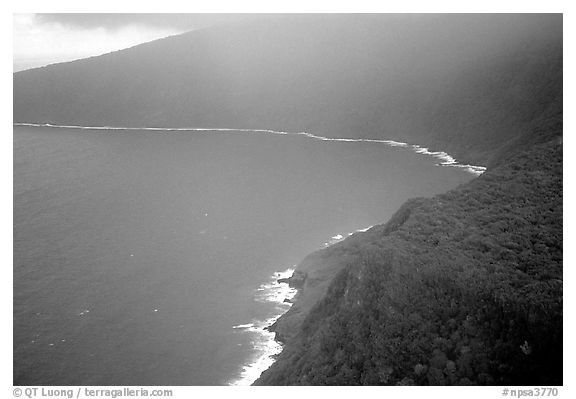 Aerial view of the wild South coast of Tau Island. National Park of American Samoa