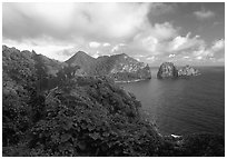 Sunrise on Vatia Bay and Pola Island, Tutuila Island. National Park of American Samoa ( black and white)