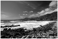 Peeble beach and Vatia Bay, mid-day, Tutuila Island. National Park of American Samoa ( black and white)