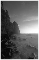 Tall seacliffs, Pola island,  Tutuila. National Park of American Samoa ( black and white)