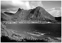 Vatia Bay and village, early morning, Tutuila Island. National Park of American Samoa (black and white)