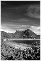 Vatia Bay and village, Tutuila Island. National Park of American Samoa ( black and white)