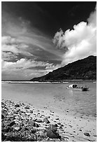 Fishing boat in Vatia Bay, Tutuila Island. National Park of American Samoa (black and white)