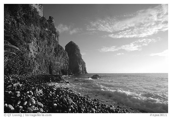 Pola Island cliffs, early morning, Tutuila Island. National Park of American Samoa (black and white)
