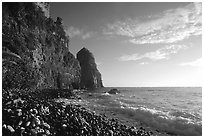 Pola Island cliffs, early morning, Tutuila Island. National Park of American Samoa ( black and white)