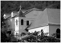 Moravian church. Virgin Islands National Park, US Virgin Islands. (black and white)