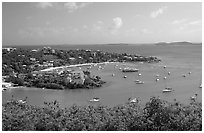 Cruz Bay. Virgin Islands National Park, US Virgin Islands. (black and white)