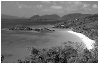 Trunk Bay. Virgin Islands National Park, US Virgin Islands. (black and white)