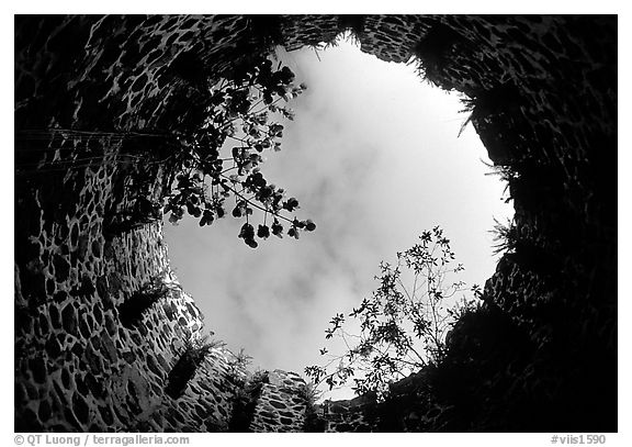 Sky through the top of old sugar mill. Virgin Islands National Park (black and white)