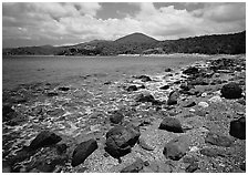 Gravel beach and rocks. Virgin Islands National Park, US Virgin Islands. (black and white)