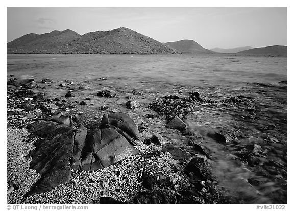 Rocks, reef, and Leinster Bay. Virgin Islands National Park (black and white)