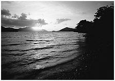 Sunrise, Leinster bay. Virgin Islands National Park, US Virgin Islands. (black and white)