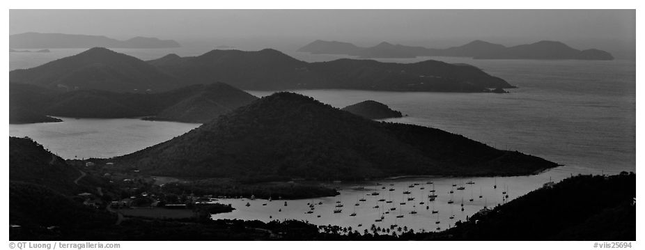 Coral Bay and harbor seen from above. Virgin Islands National Park (black and white)