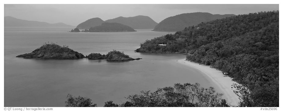 Tropical coast. Virgin Islands National Park (black and white)