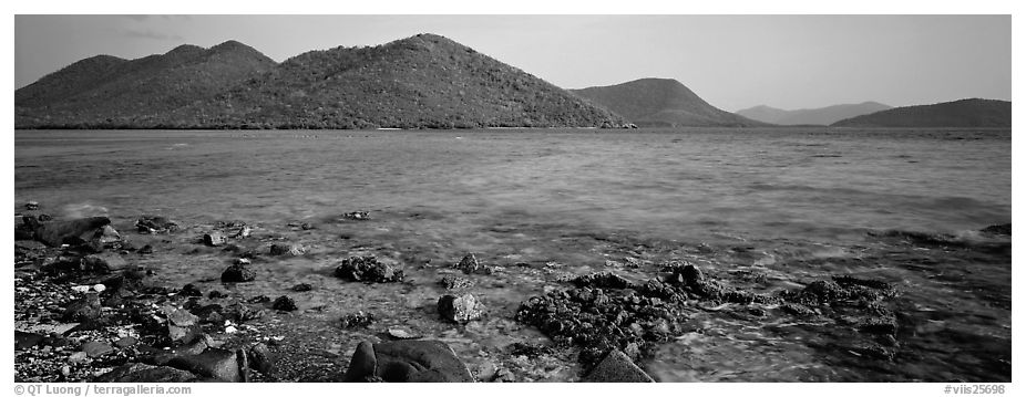 Tropical seascape. Virgin Islands National Park (black and white)