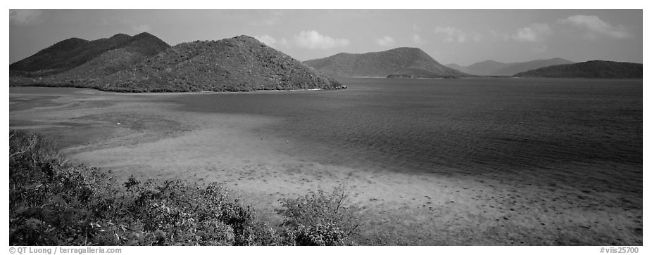 Tropical turquoise waters and green hills. Virgin Islands National Park (black and white)