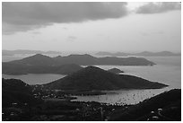 Coral Harbor seen from Centerline Road, sunrise. Virgin Islands National Park, US Virgin Islands. (black and white)