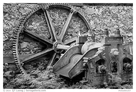 Steam powered sugarcane crusher, Reef Bay sugar factory. Virgin Islands National Park (black and white)