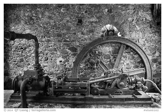 Steam engine, Reef Bay sugar factory. Virgin Islands National Park (black and white)