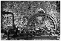 Steam engine, Reef Bay sugar factory. Virgin Islands National Park ( black and white)