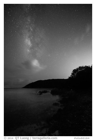 Milky Way and coastline, Little Lameshur Bay. Virgin Islands National Park (black and white)