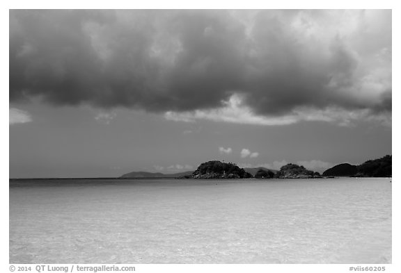 Turquoise waters, Trunk Cay, and dark clouds. Virgin Islands National Park (black and white)