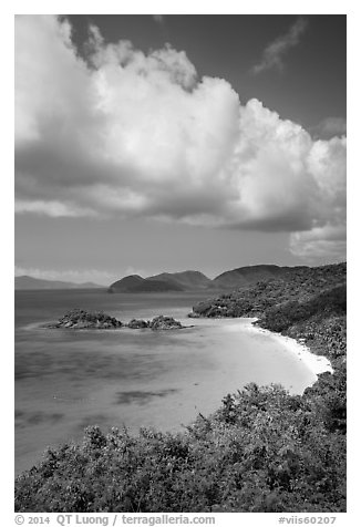 Trunk Bay and cloud. Virgin Islands National Park (black and white)