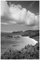Trunk Bay and cloud. Virgin Islands National Park ( black and white)