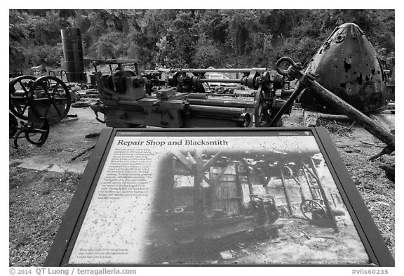 Repair Shop and Blacksmith interpretive sign, Hassel Island. Virgin Islands National Park (black and white)