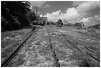 Rails and chain leading to Creque Marine Railway power house, Hassel Island. Virgin Islands National Park ( black and white)