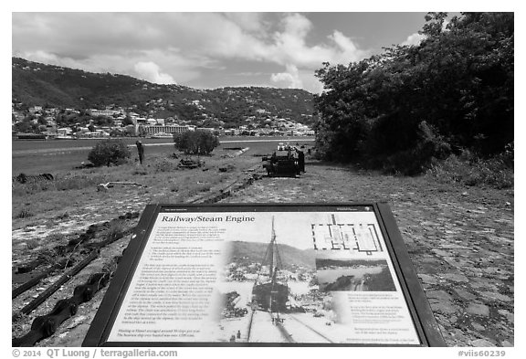 Railway and Steam Engine interpretive sign, Hassel Island. Virgin Islands National Park (black and white)