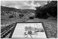 Railway and Steam Engine interpretive sign, Hassel Island. Virgin Islands National Park ( black and white)