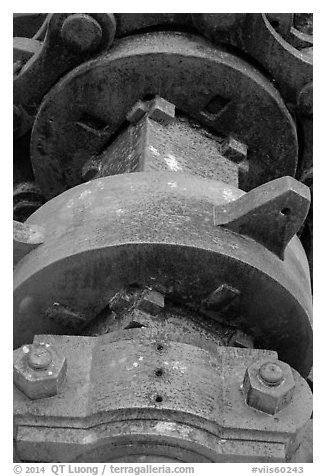 Winch detail, Creque Marine Railway, Hassel Island. Virgin Islands National Park (black and white)