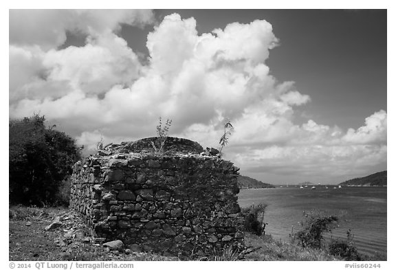 Leprosiarum building, Hassel Island. Virgin Islands National Park (black and white)