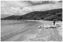 Kayaker on beach, Hassel Island. Virgin Islands National Park ( black and white)
