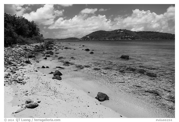 Beach, Hassel Island. Virgin Islands National Park (black and white)