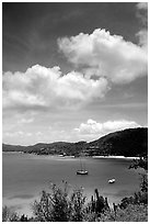 Yachts anchored in Hurricane Hole Bay. Virgin Islands National Park, US Virgin Islands. (black and white)