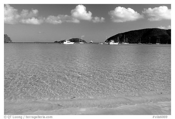 Beach and yachts, Maho Bay. Virgin Islands National Park (black and white)