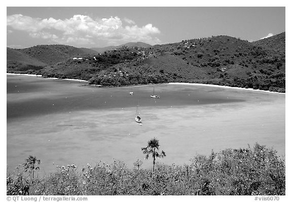 Turquoise waters in Francis Bay with anchored yacht. Virgin Islands National Park (black and white)