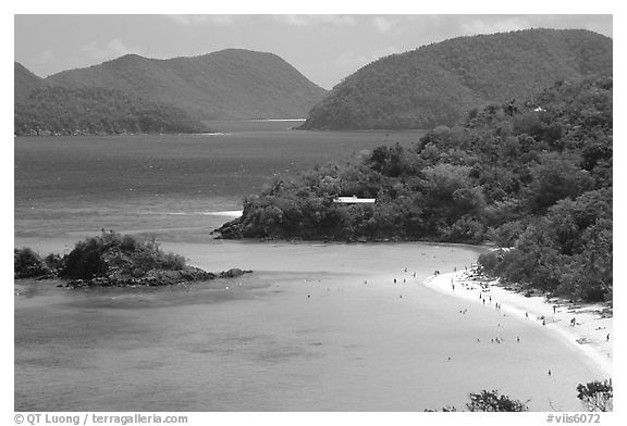 Trunk Bay and beach, mid-day. Virgin Islands National Park (black and white)