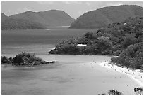 Trunk Bay and beach, mid-day. Virgin Islands National Park ( black and white)