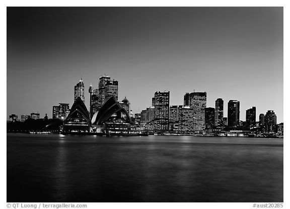 Skyline at sunset with Opera House. Sydney, New South Wales, Australia (black and white)