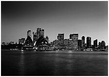 Skyline at sunset with Opera House. Sydney, New South Wales, Australia ( black and white)