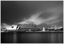 Opera House and Harbor Bridge at night. Australia ( black and white)