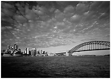 Opera House, skyline, and Harbor Bridge,. Sydney, New South Wales, Australia (black and white)