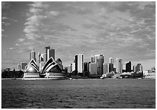 Opera house and city skyline. Australia ( black and white)