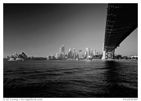 Harbor Bridge from below, skyline, and Opera House. Sydney, New South Wales, Australia (black and white)