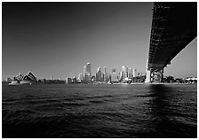 Harbor Bridge from below, skyline, and Opera House. Australia ( black and white)