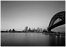 Harbor Bridge, skyline, and Opera House, dawn. Sydney, New South Wales, Australia ( black and white)